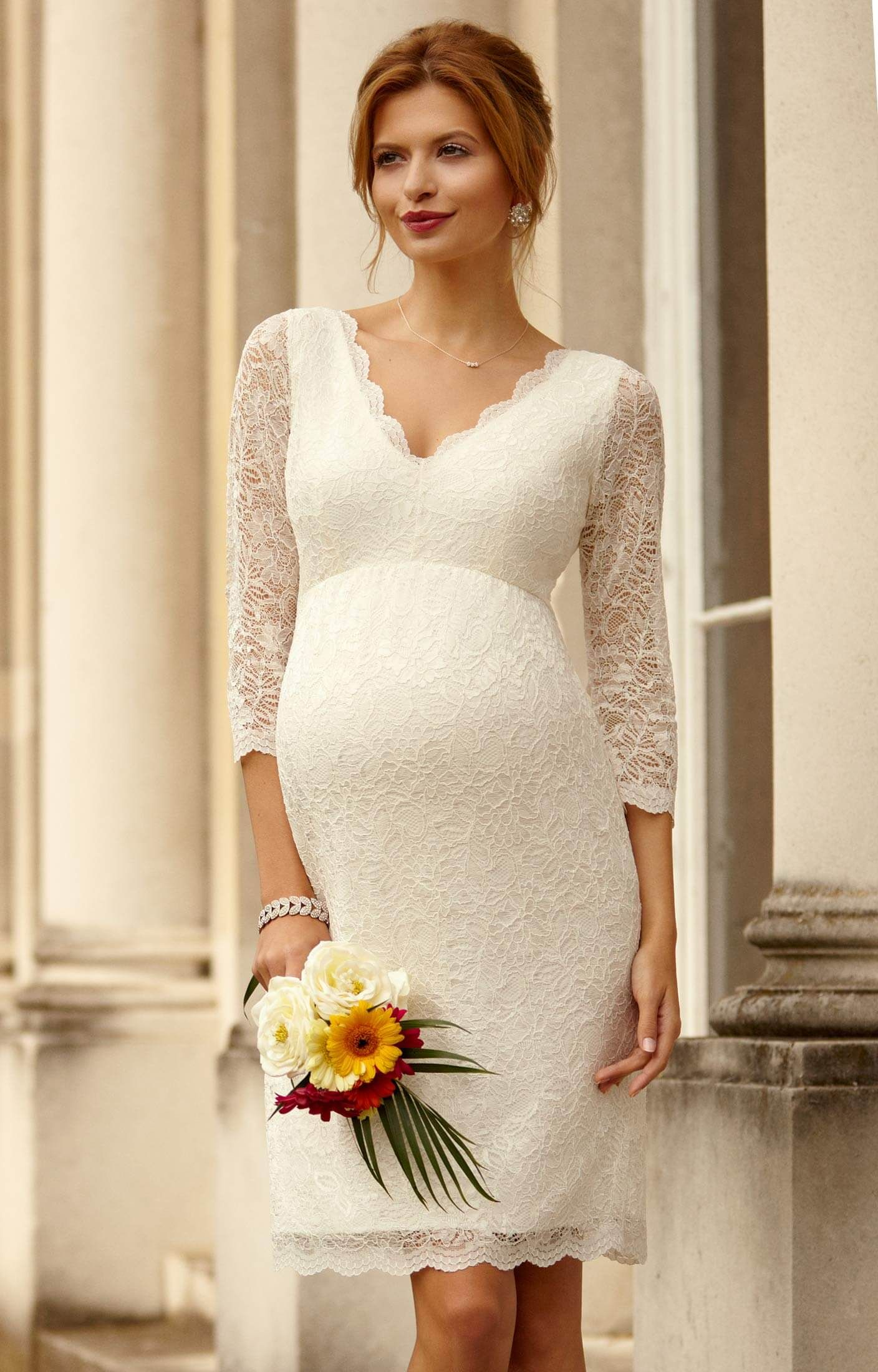 Nice 50 gorgeous maternity wedding dresses by tiffany rose a classic knee length shift dress with soft stretch corded lace is lined with premium jersey for added ombrellifo Gallery