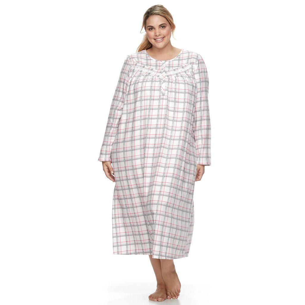 Croft & Barrow Plus Size Pajamas: Lace Flannel Gown | Flannels ...