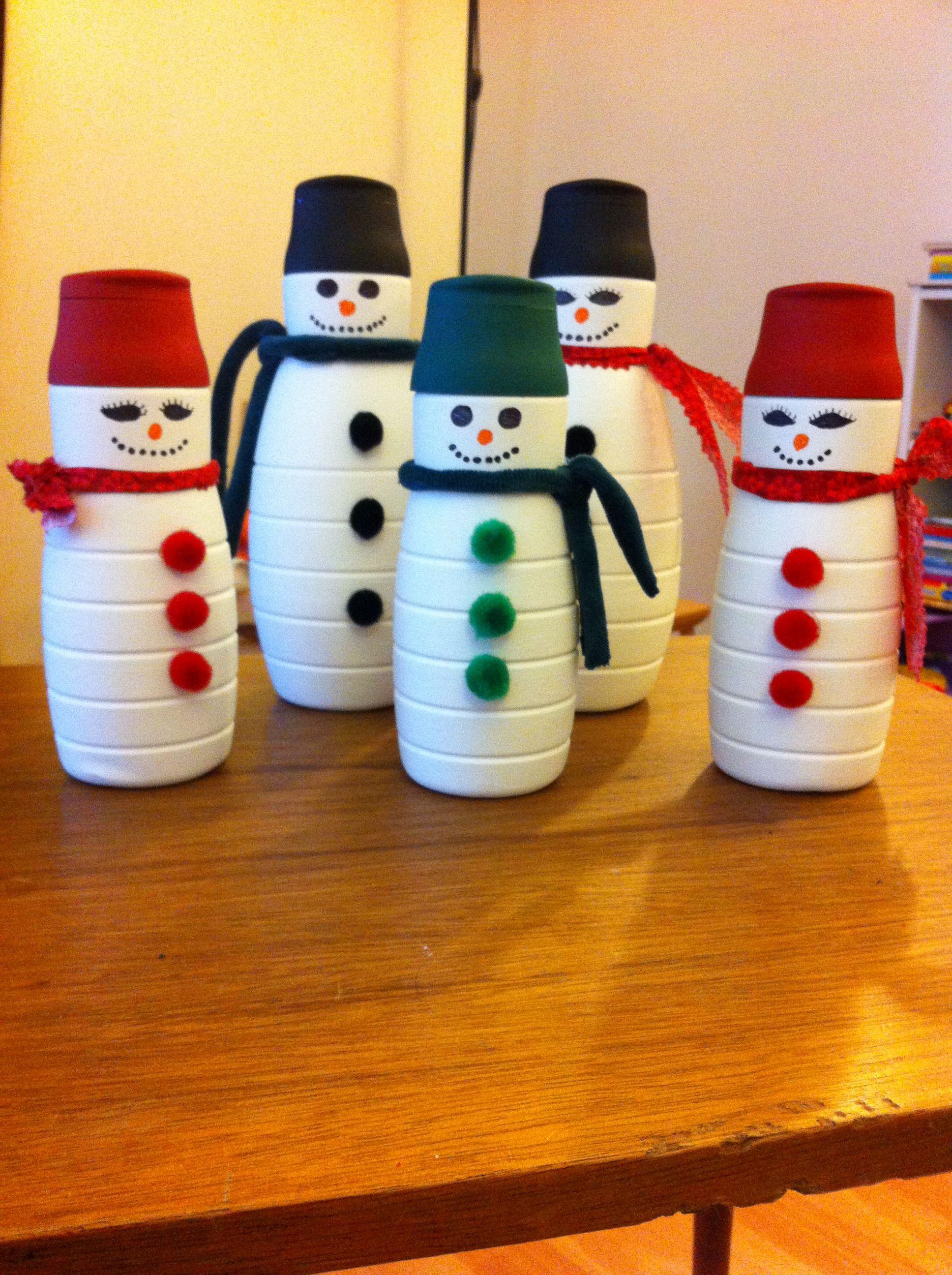 Creamer Bottle Snowmen | Christmas crafts, Holiday crafts