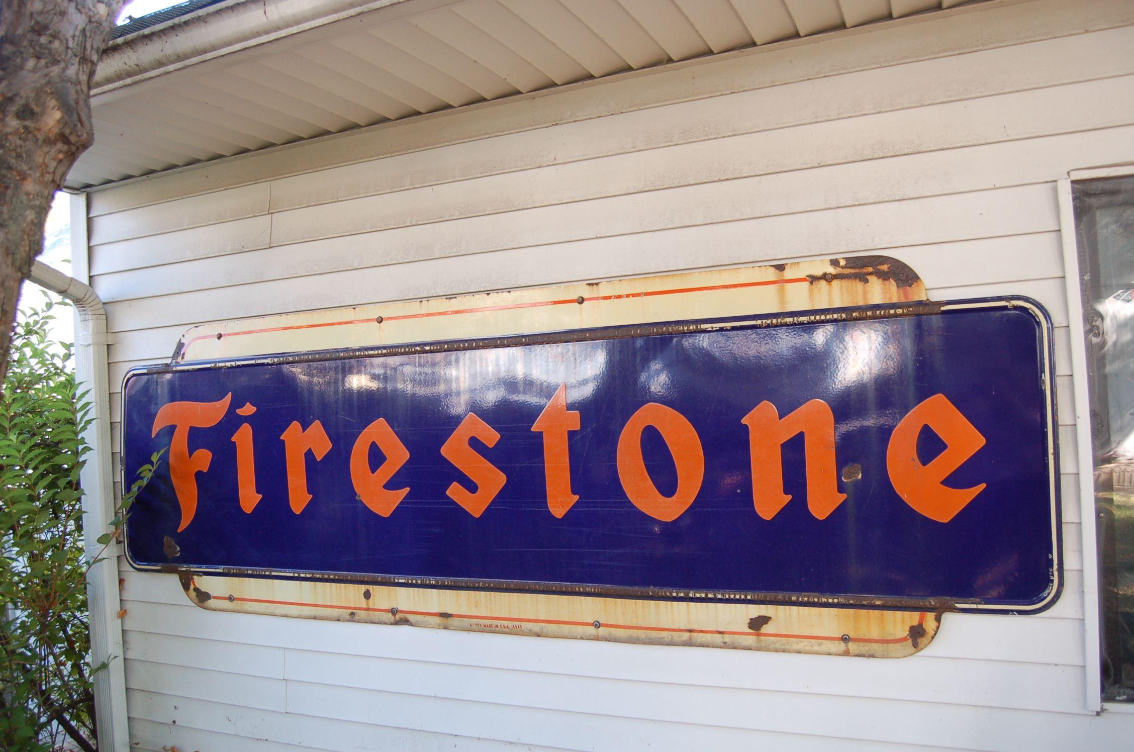 1947 Vintage Firestone porcelain on metal sign Brilliant blue and