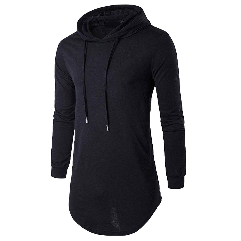 Hoodie for Men Black,L Mens Pullover Long Sleeve Sweatshirt Spring Solid Hooded Top Blouse Drawstring Hoody Sportswear Top