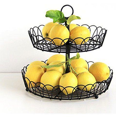 Black Metal 2 Tiered Stand Fruit Storage Display Basket Countertop Organizer Fruit Storage Tiered Fruit Basket Wire Fruit Basket