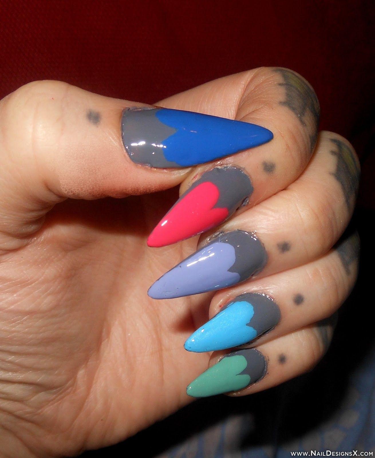 colorful heart stiletto nail design » Nail Designs & Nail Art ...