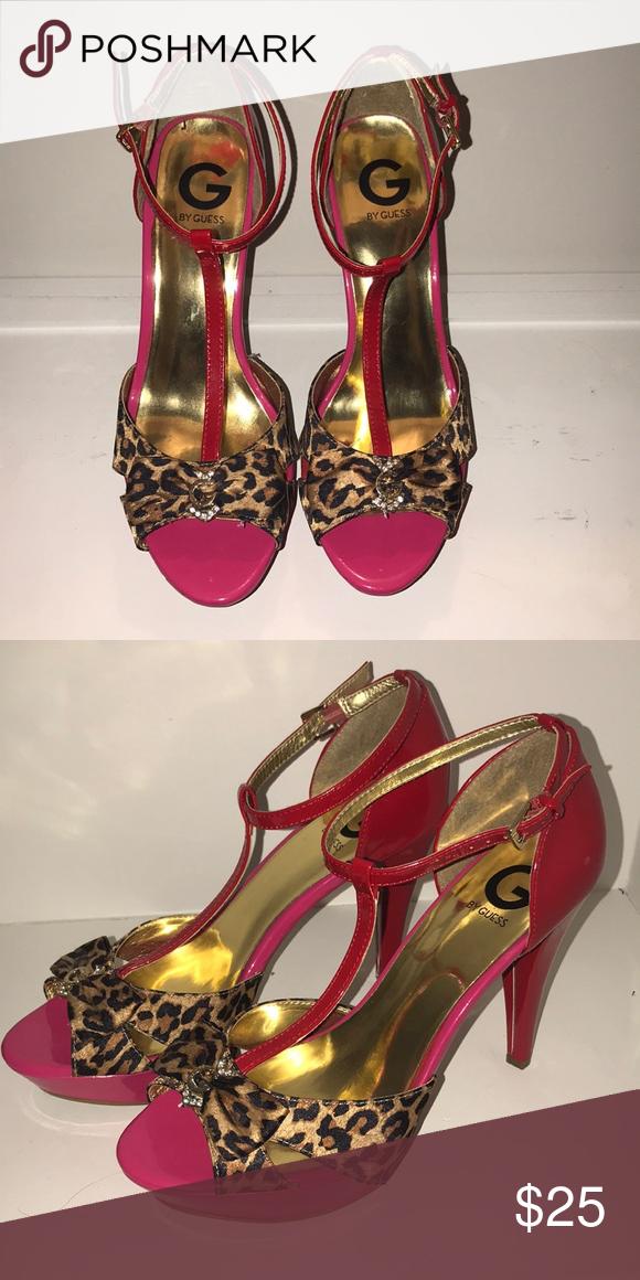 b725a5c550d GUESS Leopard Print Heels Leopard print lacquer platform high heels ...