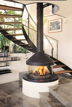 Circular Fireplace In Center Of Room Google Search Wood