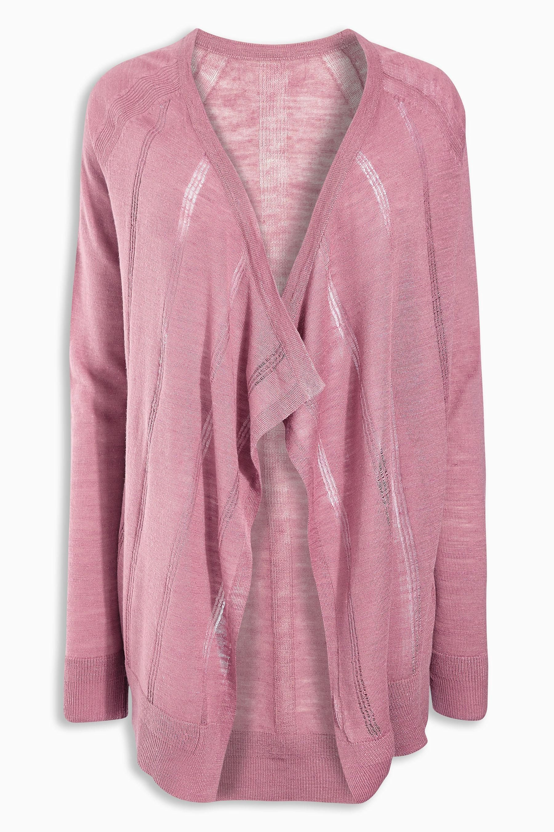 Buy Blush Linen Mix Waterfall Cardigan from the Next UK online ...