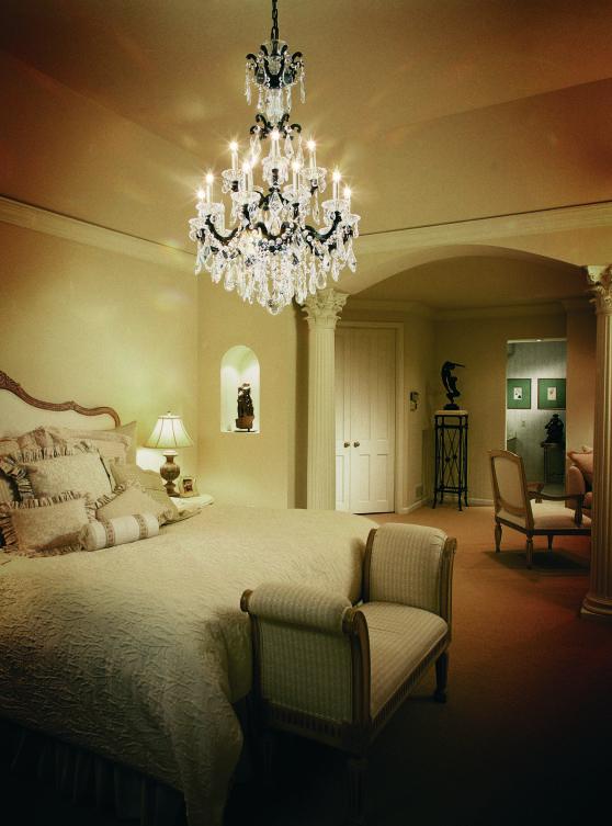 Brighten your bedroom with Schonbek crystal chandelier