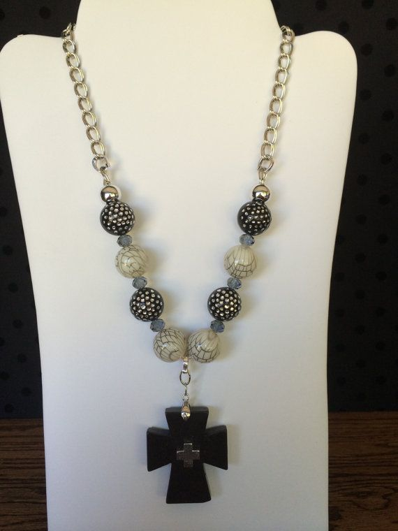 Pretty Necklace with Cross by texasjunkandjewels on Etsy, $30.00