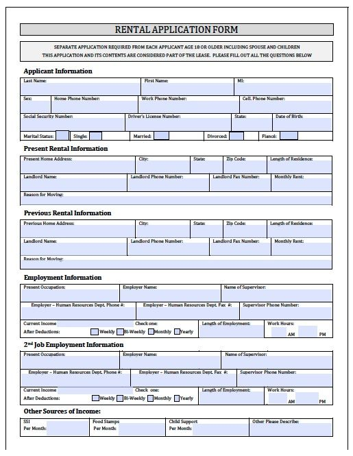Printable Sample Rental Application Forms Form | Real Estate Forms