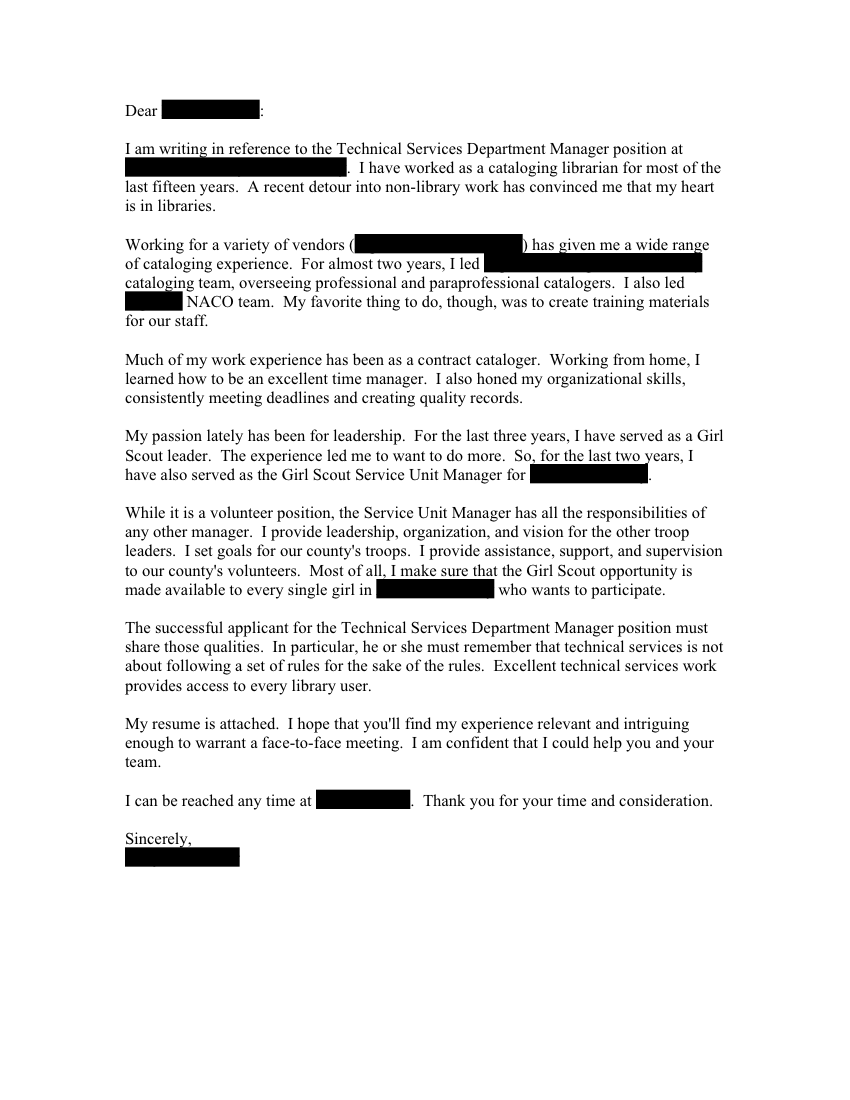 Cover Letter Librarian Application. Review A Librarian Cover Letter Example  With A Matching Resume Sample Which Includes A Profile And A Skills  Section, ...