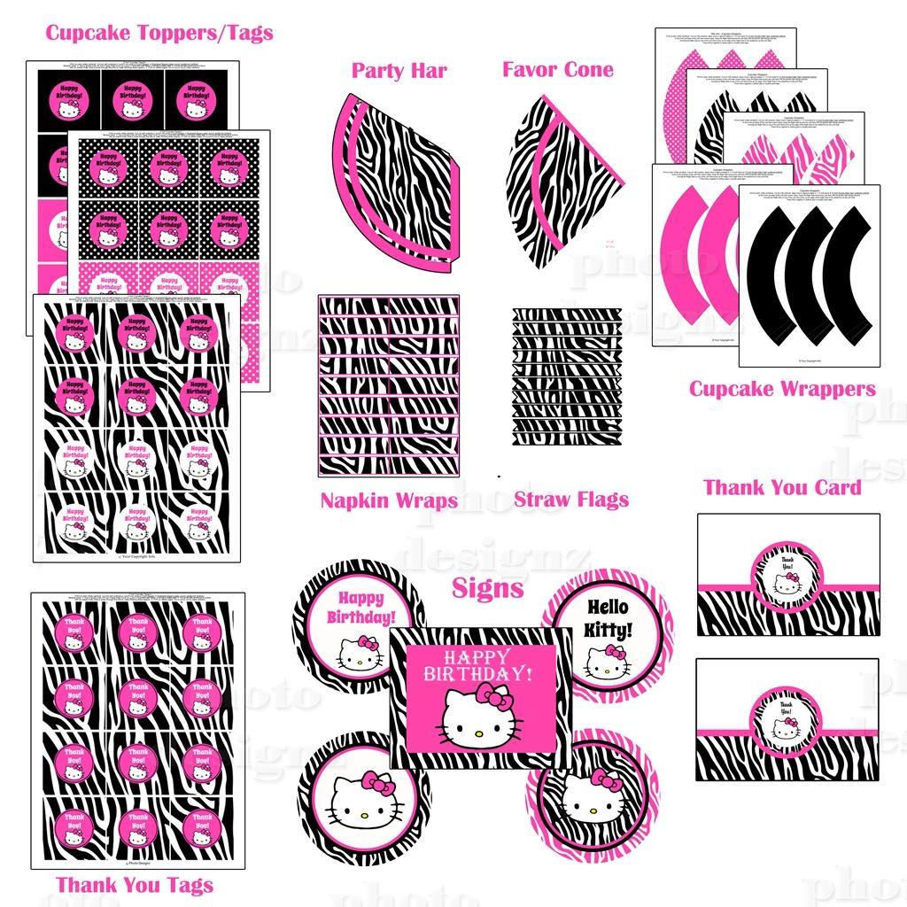 Hello Kitty Hybrid Printable Birthday Party Package Zebra Hot Pink