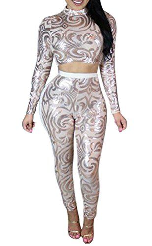 ed442b43d8e Womens Sexy Sequin Splice Mesh Long Sleeves 2 Picees Set Party Clubwear Jumpsuit  White XL     Click image for more details.(This is an Amazon affiliate link  ...