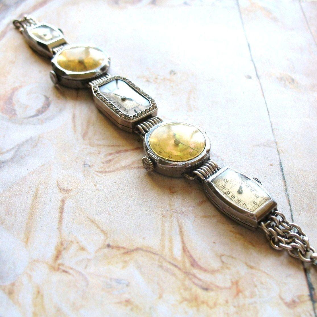 Past Times - Vintage Art Deco Handmade Watch Bracelet