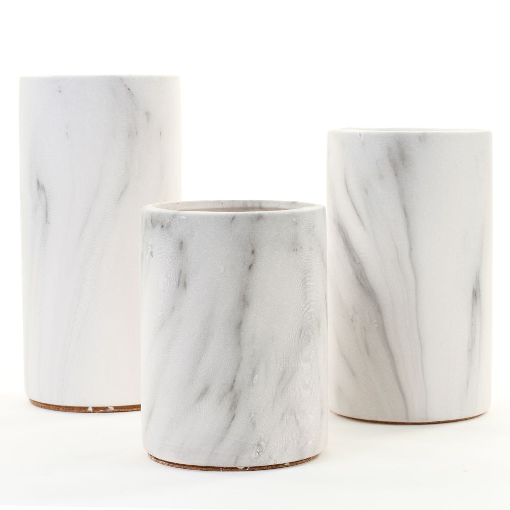 Marble Ceramic Cylinder Vase Centerpiece Set | WHITE HOUSE ...