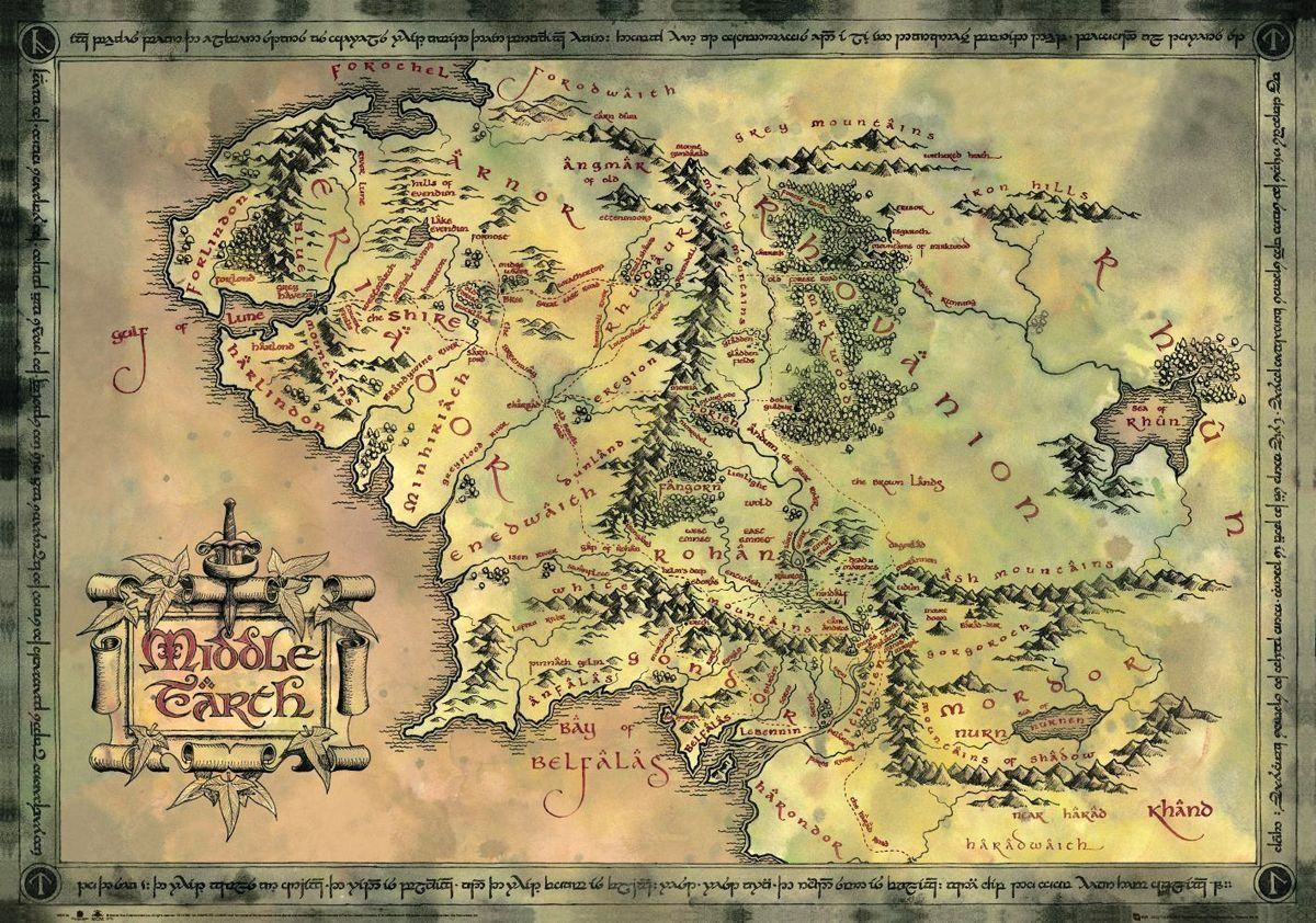 Any fantasy map collection worth its salt has a copy of the map of the hobbit the lord of the rings map of middle earth limited dark sepia edition size x gumiabroncs Image collections