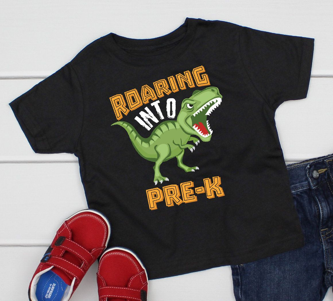 Pre-k dinosaur, roaring into pre-k, first day of school pre-k shirt, first day of school dinosaur school shirt 1st day of pre k shirt BA-051 #firstdayofschooloutfits