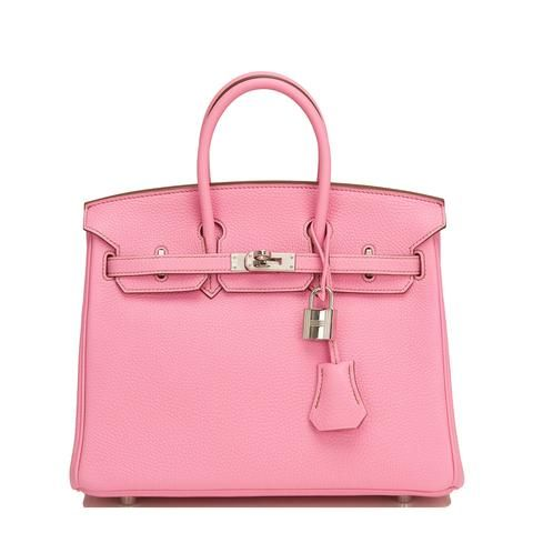 Hermes rare (bubblegum) Birkin of togo leather with palladium hardware.  This super collectible Birkin has contrast mauve stitching, a front toggle 08a742fb26