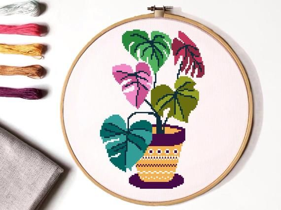 Photo of Floral  Cross Stitch Pattern, flower in a pot cross stitch chart, hoop embroidery, nature cross stitch, Instant download PDF