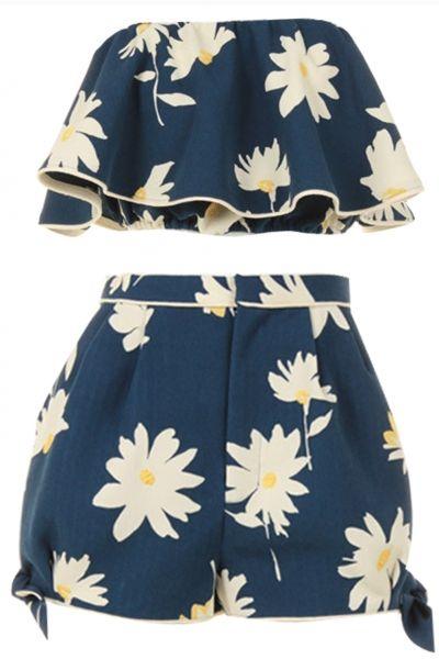 Women s Two Piece Print Crop Top Short Pants Matching Set - AZBRO ... 9572d27ea