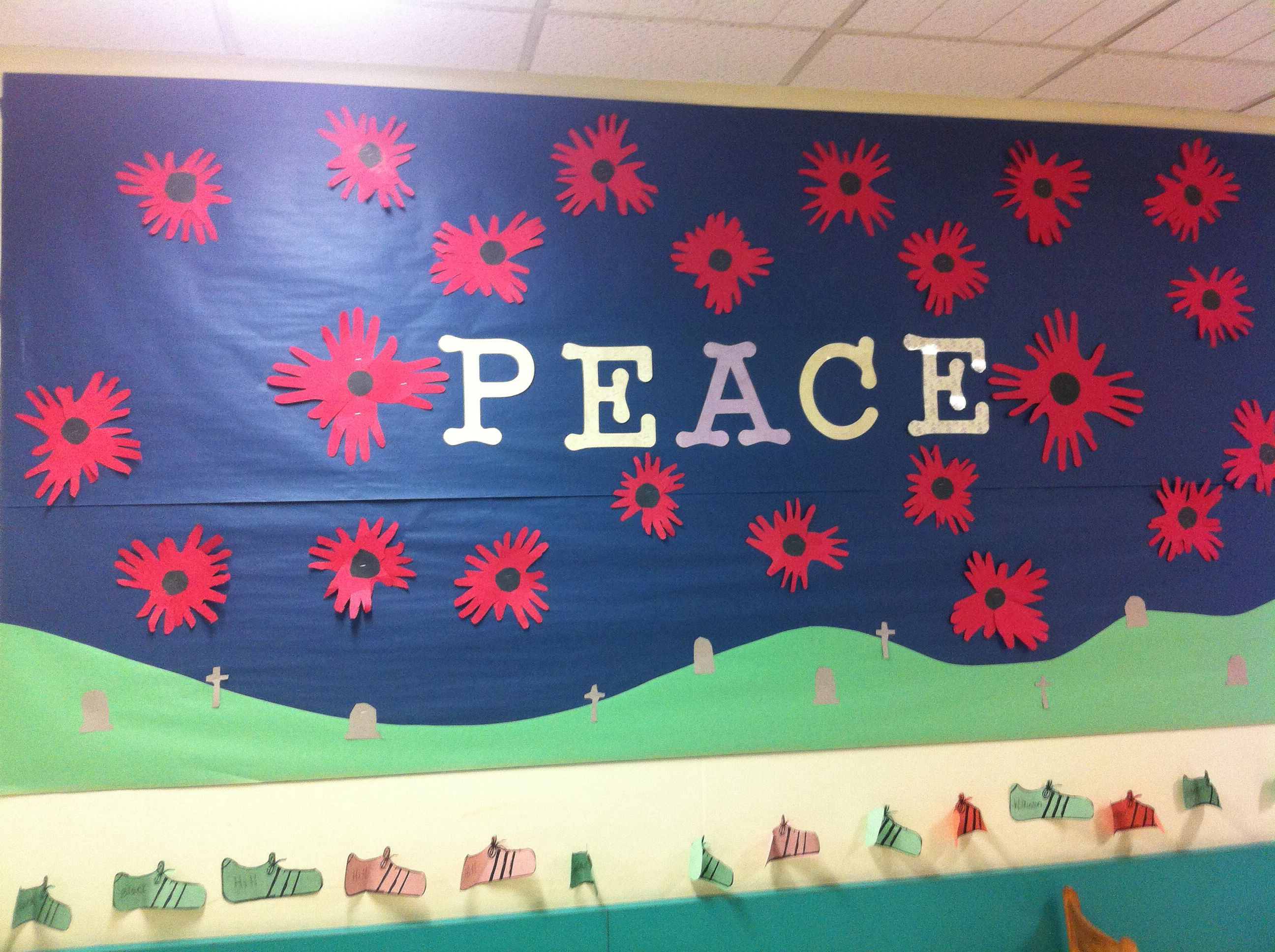 Remembrance Day Bulletin Board Kids Made Poppies With