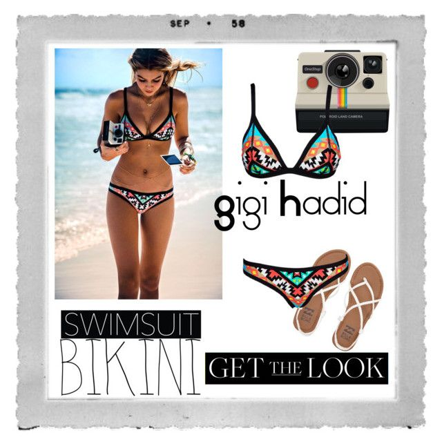 """Get the look: Gigi Hadid Swimsuit"" by arisha3-1-2005 ❤ liked on Polyvore featuring Polaroid, Seafolly, Billabong, GetTheLook, Swimsuits and gigihadid"