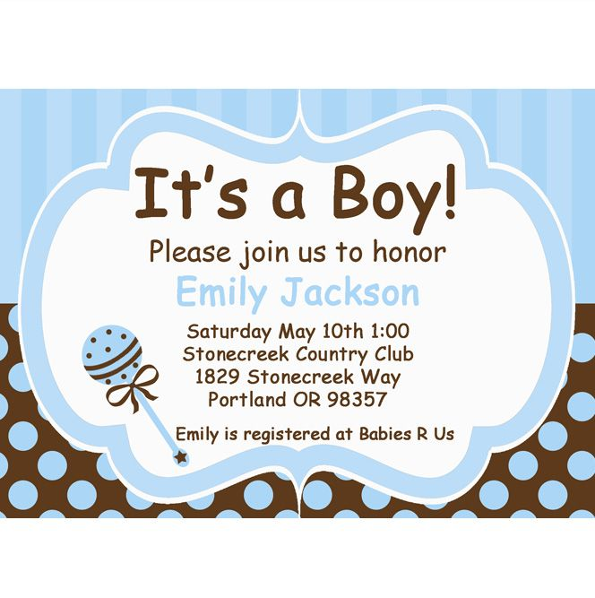 baby boy blue and brown diy printable invitation baby shower baby