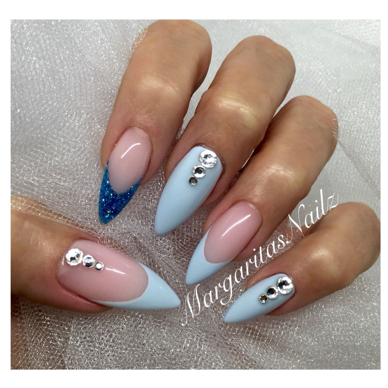 baby blue stiletto nails margaritasnailz