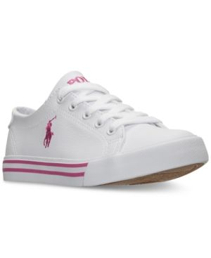 b6a30a0a3c9fd Polo Ralph Lauren Little Girls  Slater Casual Sneakers from Finish Line -  WHITE TUMBLED PINK PP 13