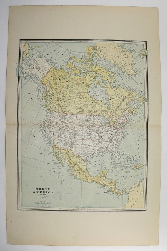 north america map 1887 vintage map united states mexico map central america caribbean map canada antique art map north pole map alaska