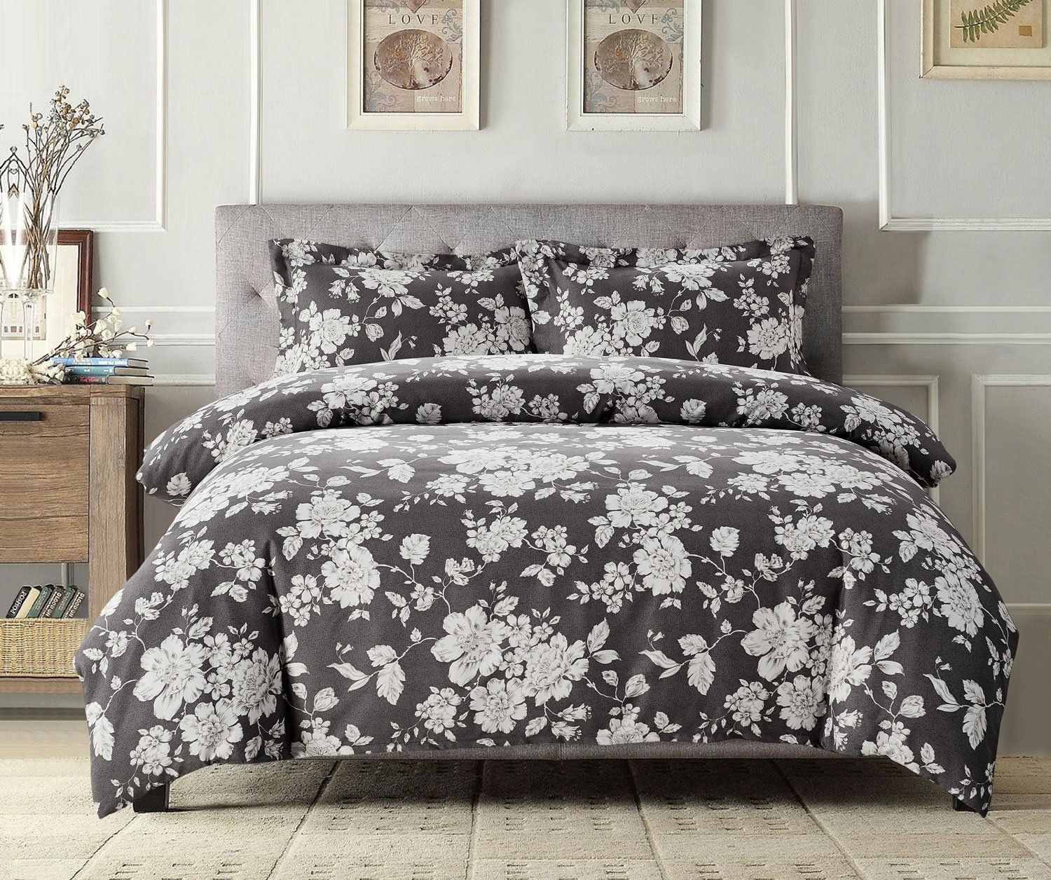 db4bb7721a7d Gray Floral Duvet Cover Set