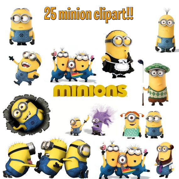 25 High Quality Minion Clip Art Diy Instant Download Printable