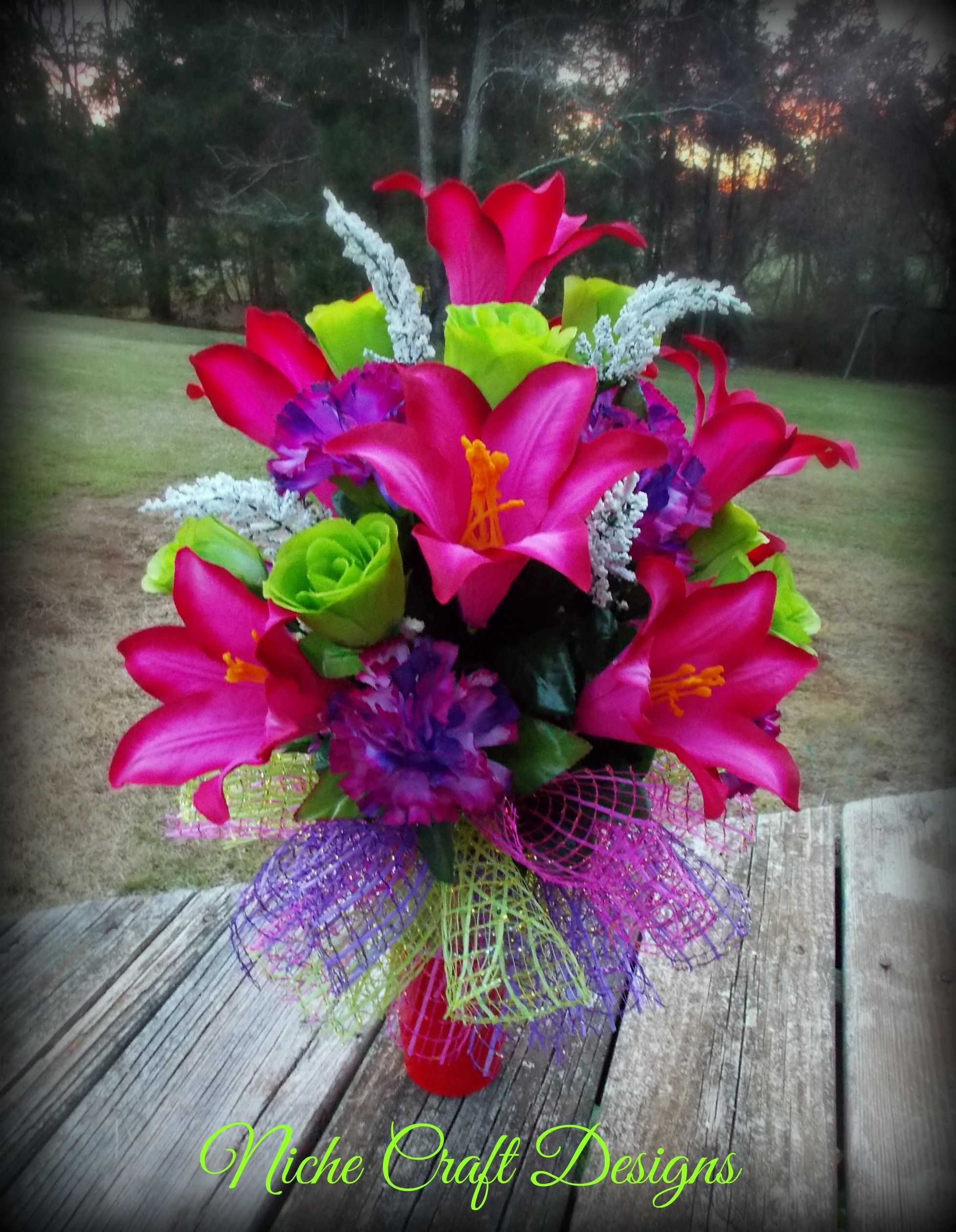Spring flowers arrangement for a cemetery vase my creations funeral flowers mightylinksfo Images