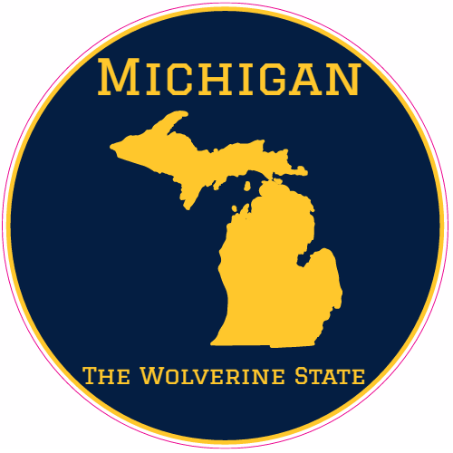 Get This Michigan The Wolverine State Circle Sticker Online At The - Order stickers online cheap