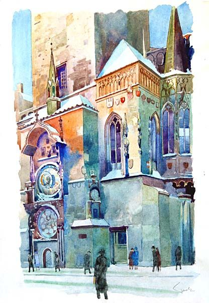 Orloj Eduard Tomek With Images Watercolor Art Watercolor City