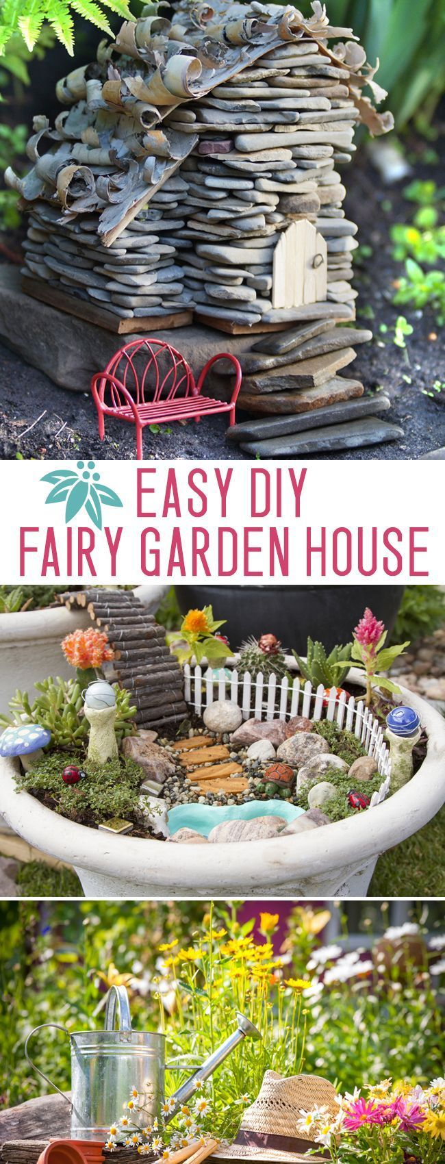 Make an adorable stone fairytale home   this simple DIY is fun for kids OR is part of Simple Fairy garden - Make an adorable stone fairyhouse  this simple DIY is fun for kids OR adults! Gardens Source by t