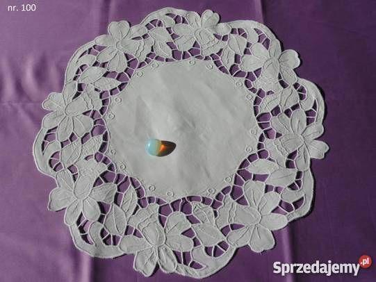 Seretki bieżniki białe wyszywane ręcznie haftem Obrusy i serwety lubelskie…
