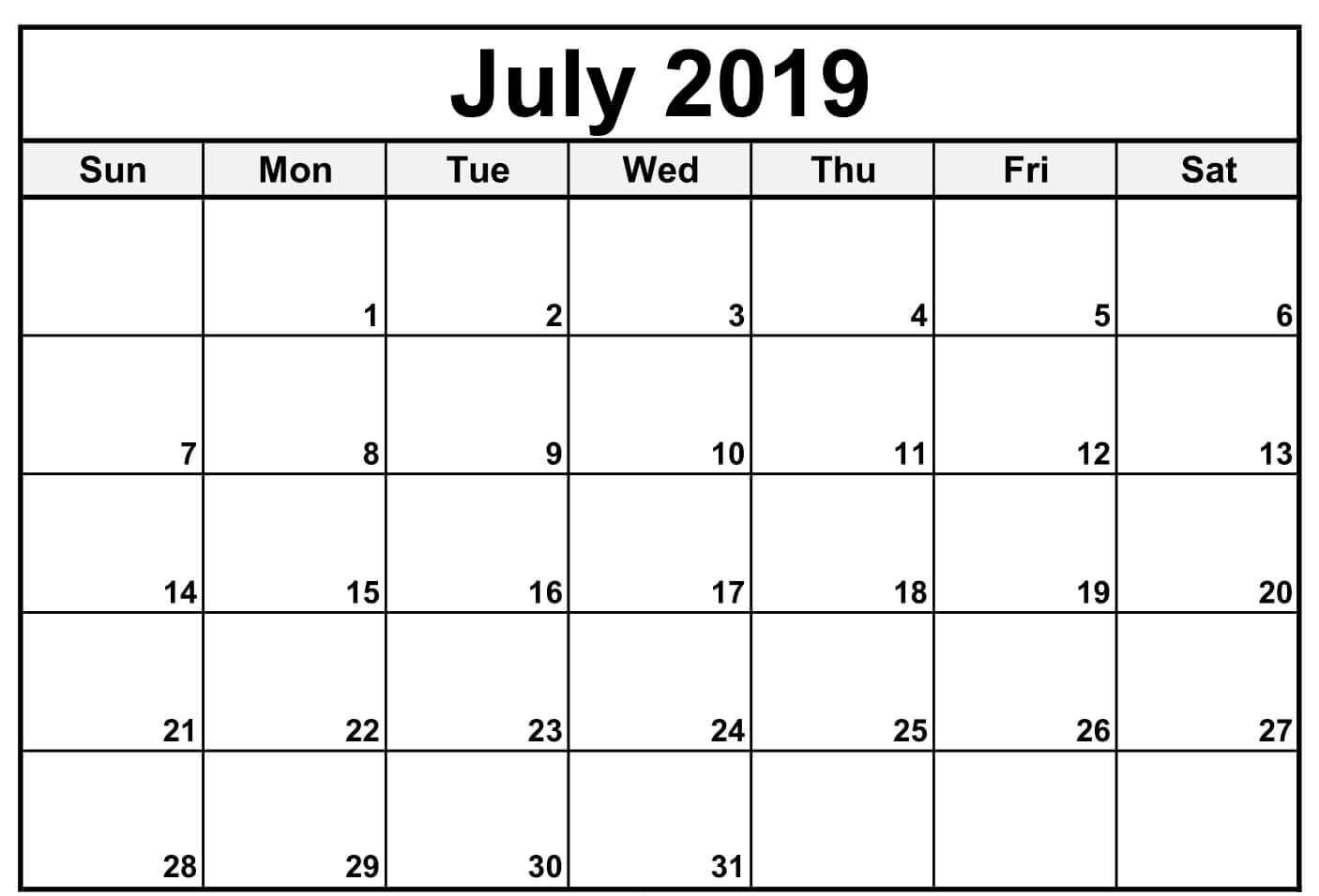 Calendar July 2019 In Pdf Word Excel Printable Template