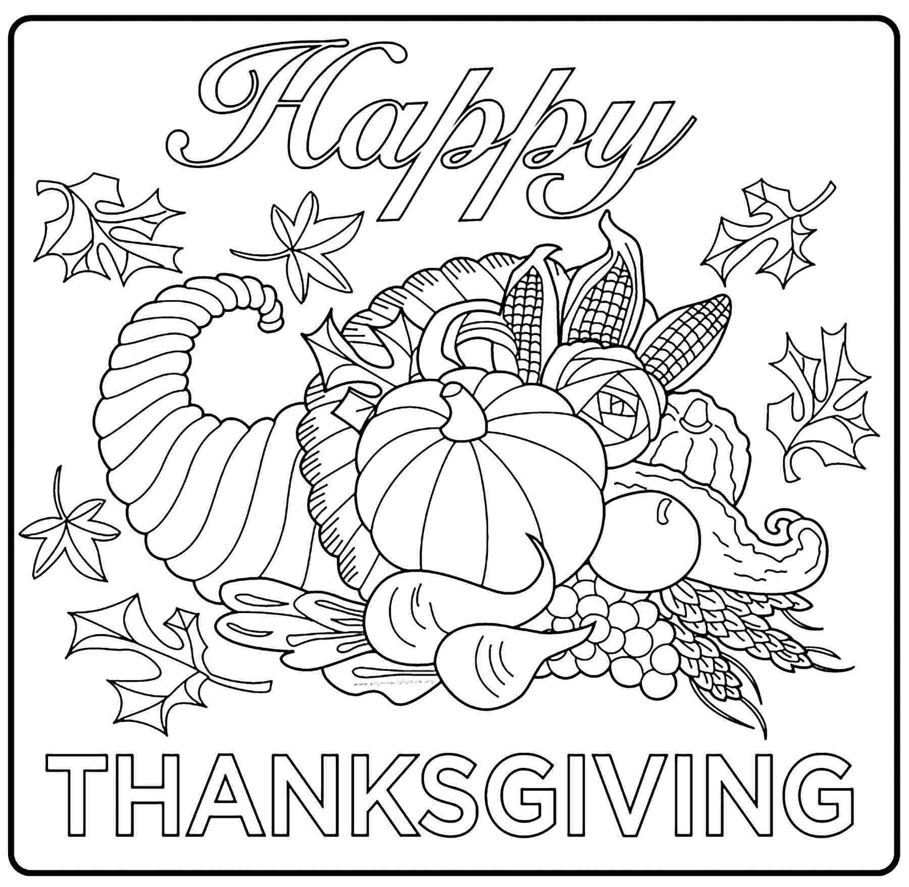 Best Printable Thanksgiving For Kids Coloring Pages 10000