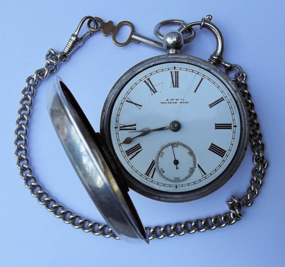 Reloj de bolsillo waltman en plata con llave y cadena - Reloj de cadena ...