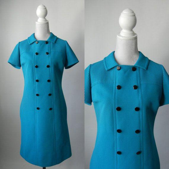 Vintage Dress, 1960 Dress, Blue Vintage Dress, Aqua Blue Dress, 60s ...