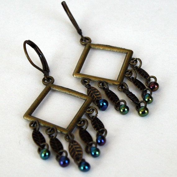 Leaflet antiqued brass leaf earrings by Smilingfrogs on Etsy, $8.00