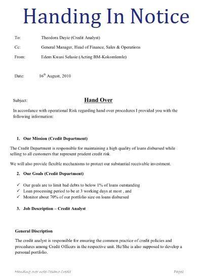 6 handing in notice templates free printable word pdf