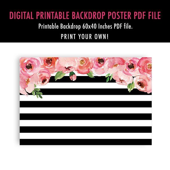 photo relating to Printable Backdrop identified as Kate Bridal Shower Printable Backdrop, Black and White
