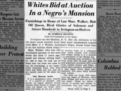 Madame Cj Walker House Auction Newspapers Com African American