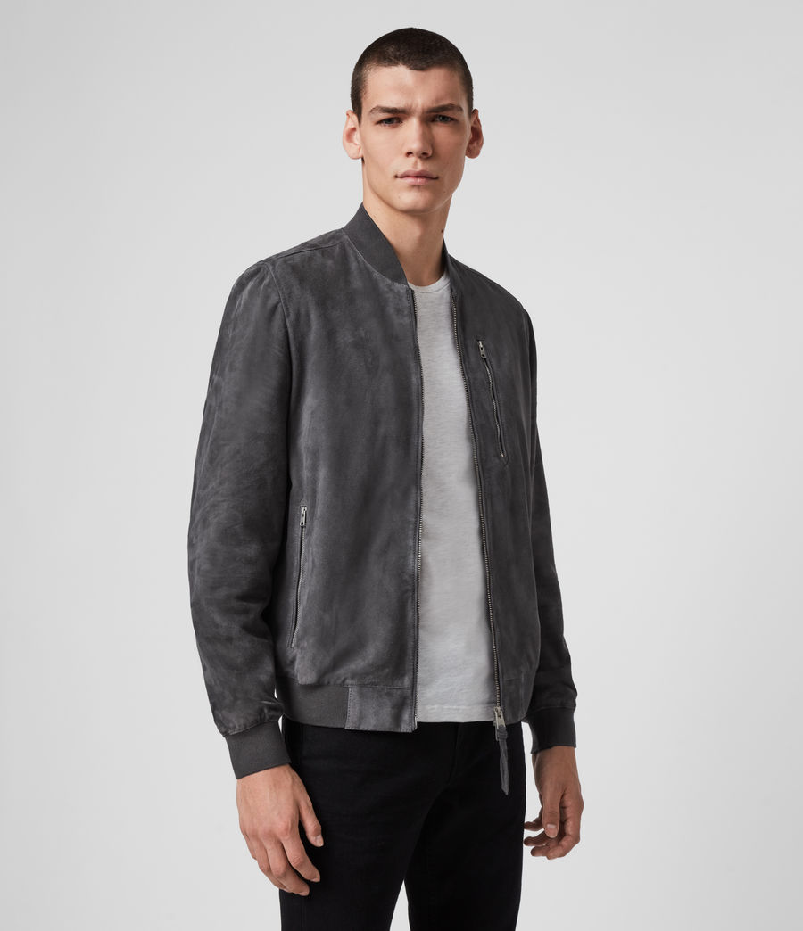 Allsaints Uk Mens Kemble Suede Bomber Jacket Light Taupe Bomber Jacket Outfit Grey Bomber Jacket Outfit Men Grey Bomber Jacket [ 1044 x 900 Pixel ]