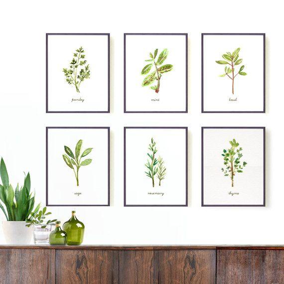 Art Prints For Kitchen Wall: Kitchen Art Herb Print Set Of 6