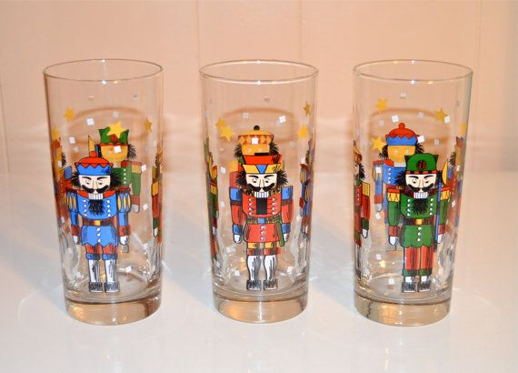 Libbey Tumbler Christmas Nutcracker Drinking Glasses By