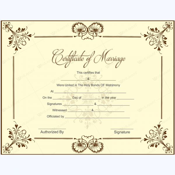 blank marriage certificate template for microsoft word printablemarriagecertificate wedding certificate