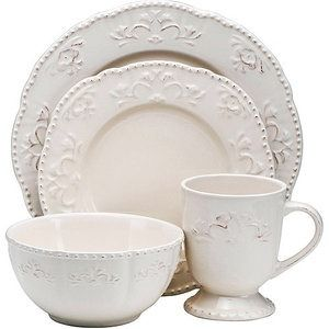 Superieur Better Homes And Gardens Medallion Wreath 16 Piece Dinnerware Set, Cream  Mist   Walmart.com
