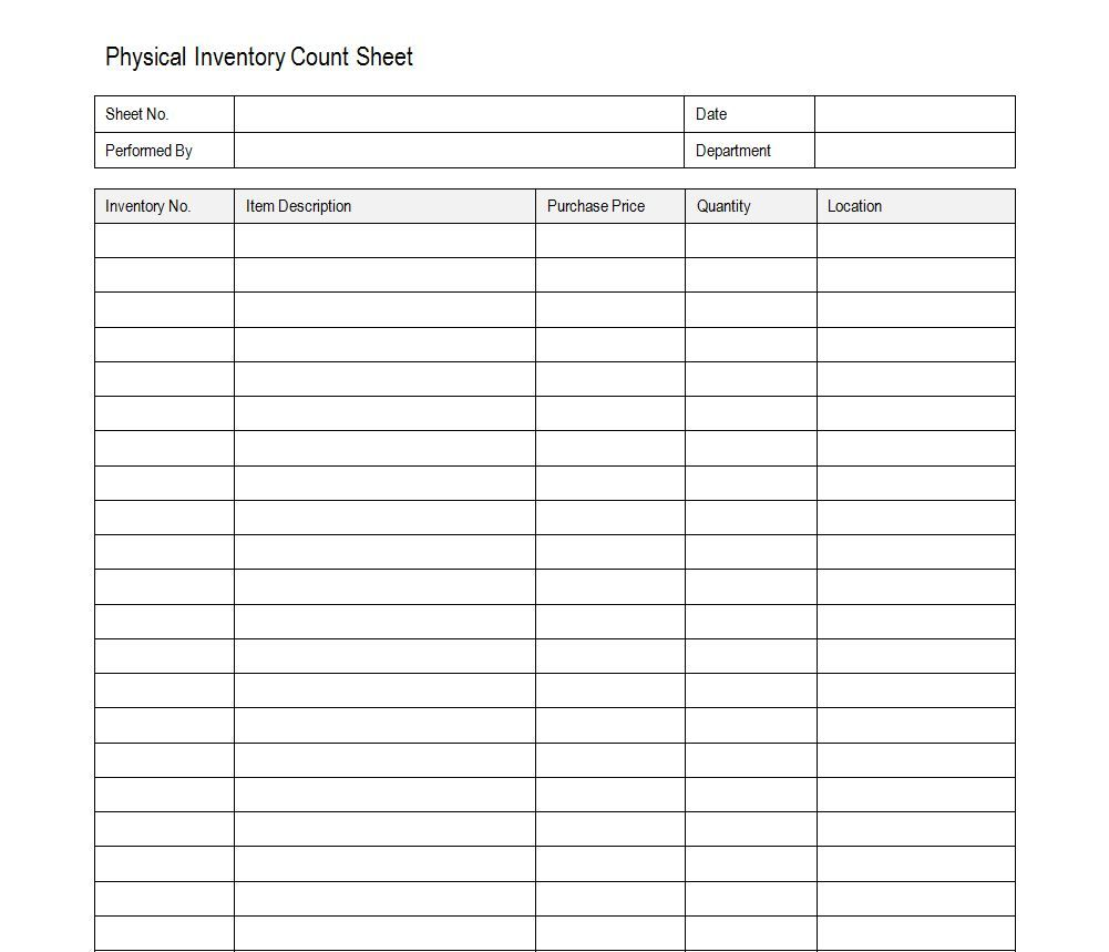 Free Inventory Count Sheet  Accounting    Count